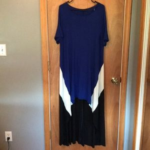 Rae Mode High Low black blue and white dress